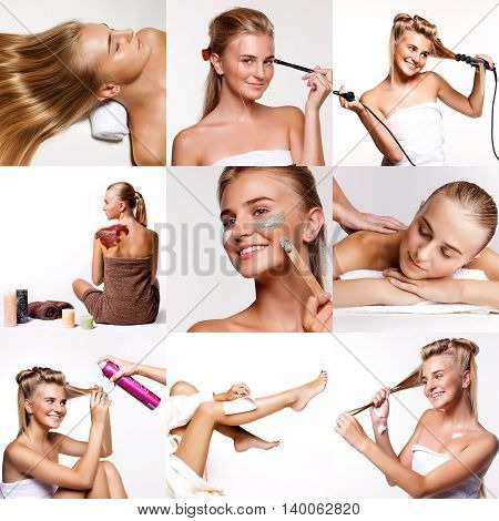 Collage Type Of Spa Treatments. Spa Treatments On A White Background. Beautiful Blonde Girl