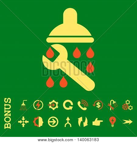 Shower Plumbing glyph bicolor icon. Image style is a flat iconic symbol, orange and yellow colors, green background.