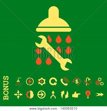 Shower Plumbing glyph bicolor icon. Image style is a flat pictogram symbol, orange and yellow colors, green background.