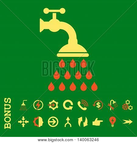 Shower Tap glyph bicolor icon. Image style is a flat pictogram symbol, orange and yellow colors, green background.