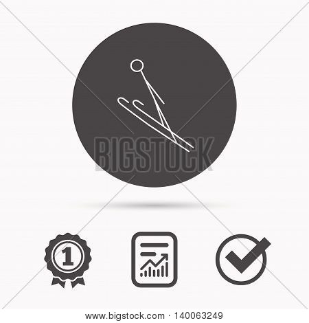 Ski jumping icon. Skis extreme sport sign. Professional competition symbol. Report document, winner award and tick. Round circle button with icon. Vector