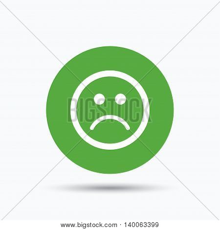 Sad smiley icon. Bad feedback symbol. Flat web button with icon on white background. Green round pressbutton with shadow. Vector