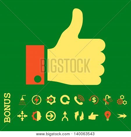 Thumb Up glyph bicolor icon. Image style is a flat iconic symbol, orange and yellow colors, green background.