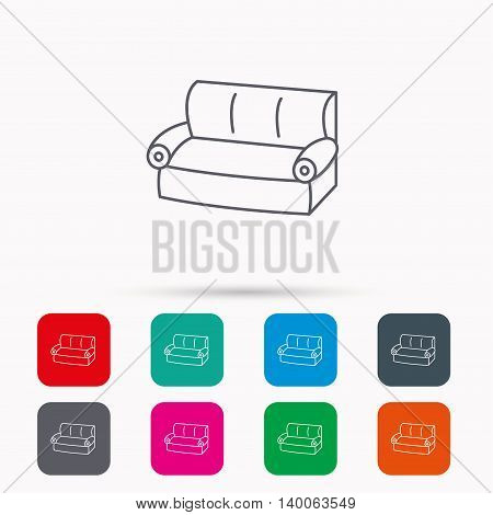 Sofa icon. Comfortable couch sign. Furniture symbol. Linear icons in squares on white background. Flat web symbols. Vector