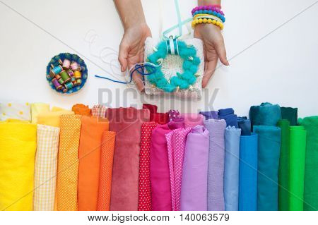 Rolls Of Bright Colored Fabric On A White Background.vv