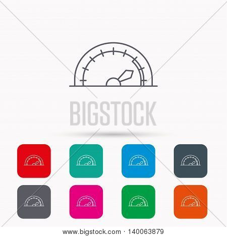 Speedometer icon. Speed tachometer with arrow sign. Linear icons in squares on white background. Flat web symbols. Vector