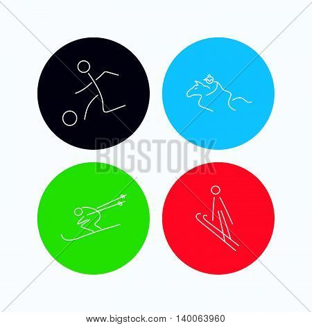 Horseback riding, football and skiing icons. Ski jumping linear sign. Linear icons on colored buttons. Flat web symbols. Vector
