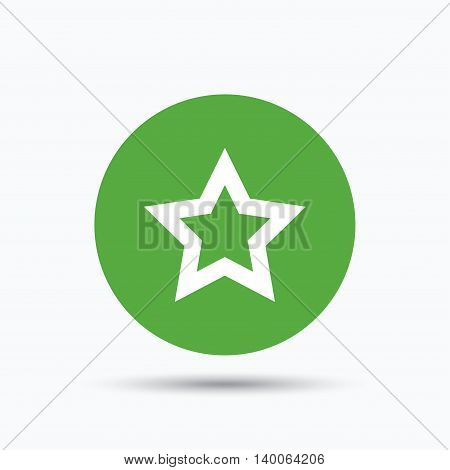 Star icon. Favorite or best sign. Web ranking symbol. Flat web button with icon on white background. Green round pressbutton with shadow. Vector