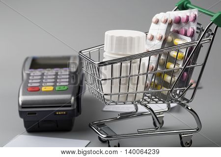 Pos terminal and shopping cart full of various pills