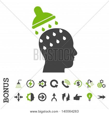 Brain Washing glyph bicolor icon. Image style is a flat iconic symbol, eco green and gray colors, white background.