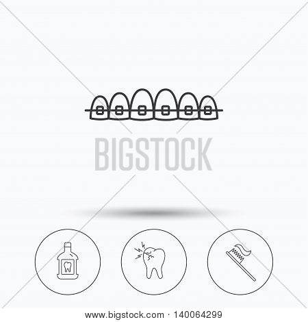 Toothache, dental braces and mouthwash icons. Toothbrush linear sign. Linear icons in circle buttons. Flat web symbols. Vector