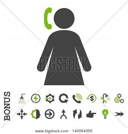 Calling Woman glyph bicolor icon. Image style is a flat iconic symbol, eco green and gray colors, white background.