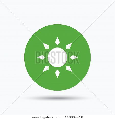 Sun icon. Sunny weather symbol. Flat web button with icon on white background. Green round pressbutton with shadow. Vector