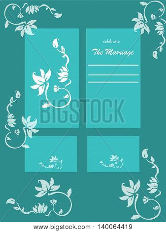 Illustration with weeding card and invitation card