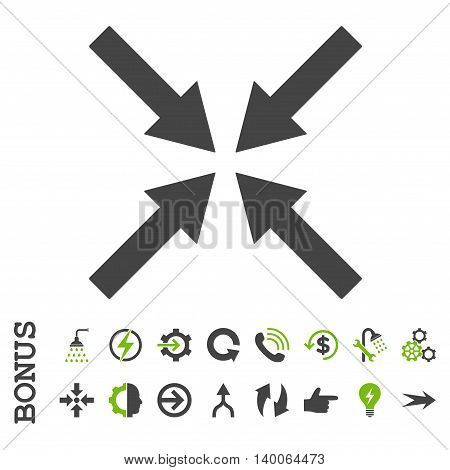 Center Arrows glyph bicolor icon. Image style is a flat iconic symbol, eco green and gray colors, white background.