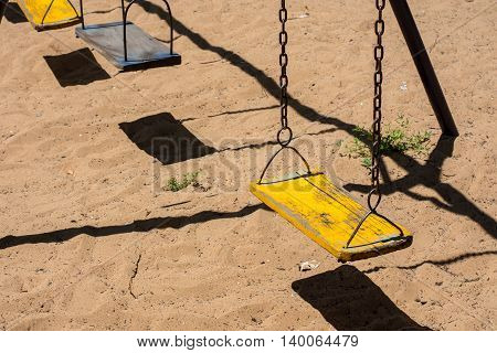 Baby swings in park playground, kid, chain