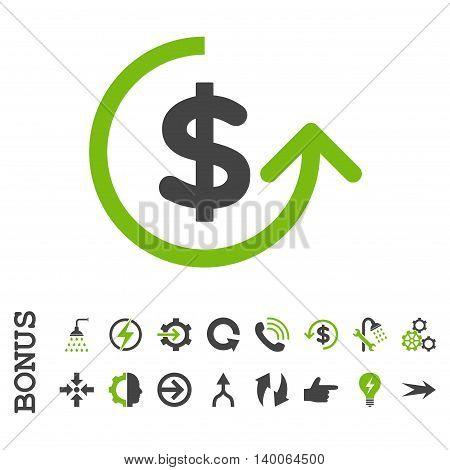 Chargeback glyph bicolor icon. Image style is a flat pictogram symbol, eco green and gray colors, white background.