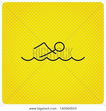 Swimming icon. Swimmer in waves sign. Professional sport symbol. Linear icon on orange background. Vector