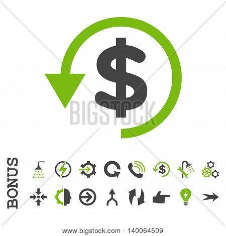 Chargeback glyph bicolor icon. Image style is a flat iconic symbol, eco green and gray colors, white background.