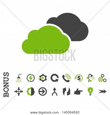 Clouds glyph bicolor icon. Image style is a flat iconic symbol, eco green and gray colors, white background.