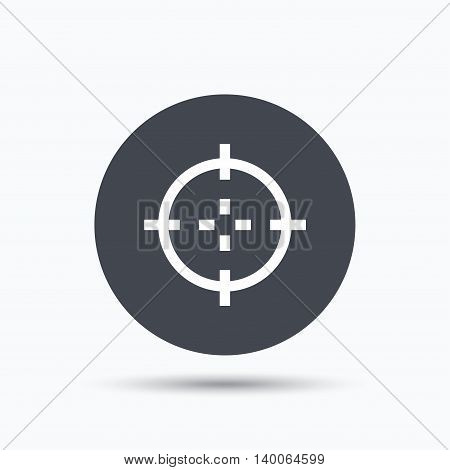 Target icon. Crosshair aim symbol. Flat web button with icon on white background. Gray round pressbutton with shadow. Vector