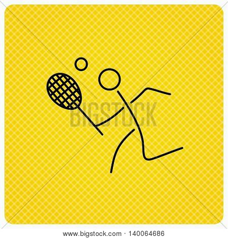 Tennis icon. Racket with ball sign. Professional sport symbol. Linear icon on orange background. Vector