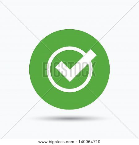 Tick icon. Check or confirm symbol. Flat web button with icon on white background. Green round pressbutton with shadow. Vector
