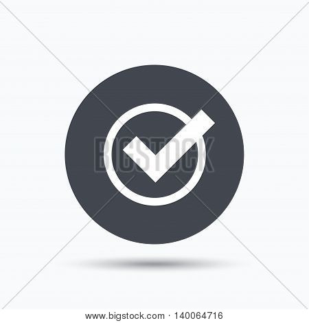 Tick icon. Check or confirm symbol. Flat web button with icon on white background. Gray round pressbutton with shadow. Vector