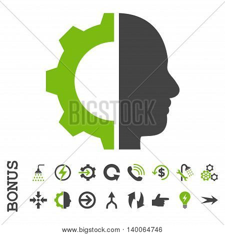 Cyborg Gear glyph bicolor icon. Image style is a flat iconic symbol, eco green and gray colors, white background.