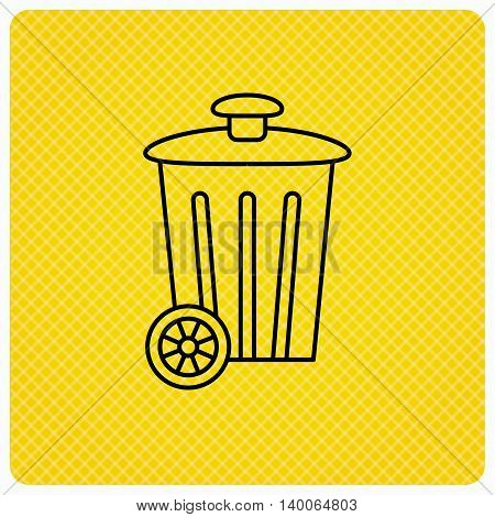 Recycle bin icon. Trash container sign. Street rubbish symbol. Linear icon on orange background. Vector