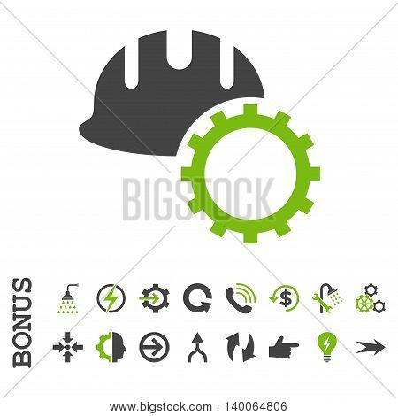 Development Hardhat glyph bicolor icon. Image style is a flat pictogram symbol, eco green and gray colors, white background.