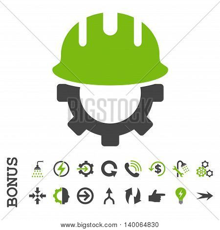 Development Hardhat glyph bicolor icon. Image style is a flat iconic symbol, eco green and gray colors, white background.