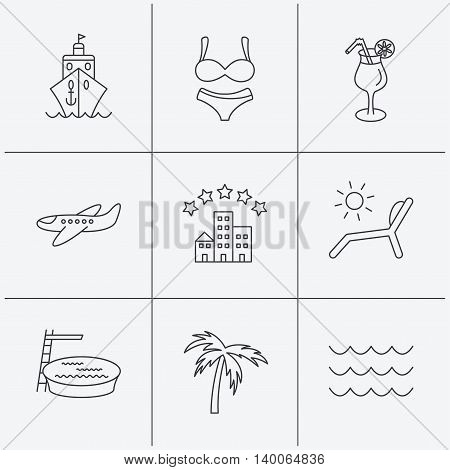 Cruise, waves and cocktail icons. Hotel, palm tree and swimming pool linear signs. Airplane, deck chair and lingerie flat line icons. Linear icons on white background. Vector