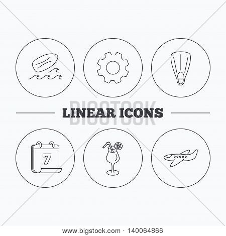 Surfboard, waves and cocktail icons. Flippers, airplane linear sign. Flat cogwheel and calendar symbols. Linear icons in circle buttons. Vector