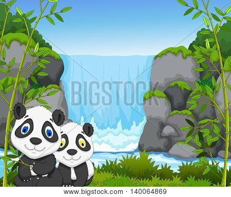 funny cartoon panda with waterfall and forest background