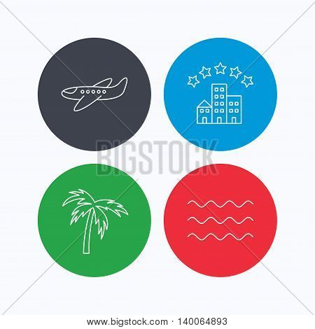 Airplane, waves and palm tree icons. Hotel linear sign. Linear icons on colored buttons. Flat web symbols. Vector