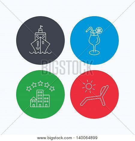Cruise, waves and cocktail icons. Hotel, deck chair linear signs. Linear icons on colored buttons. Flat web symbols. Vector