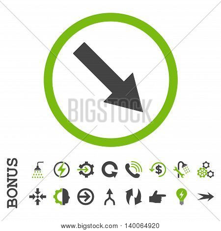 Down-Right Rounded Arrow glyph bicolor icon. Image style is a flat iconic symbol, eco green and gray colors, white background.