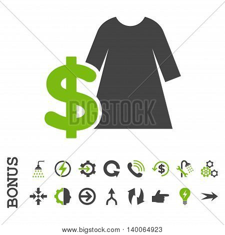 Dress Price glyph bicolor icon. Image style is a flat iconic symbol, eco green and gray colors, white background.