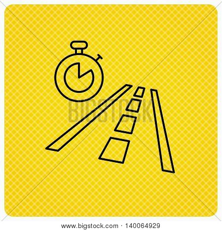 Travel time icon. Road with timer sign. Linear icon on orange background. Vector