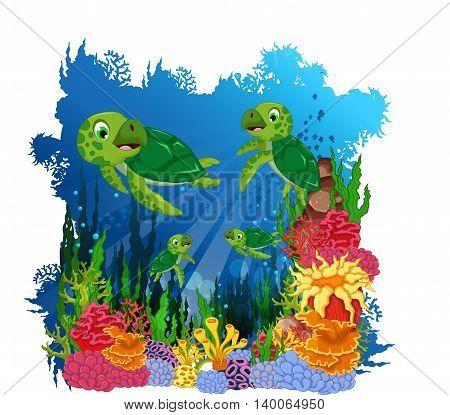 funny three turtle cartoon with sea life background
