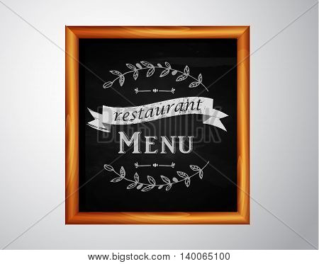 Menu on Chalkboard background with hand drawn ornament for restaurant in wooden frame