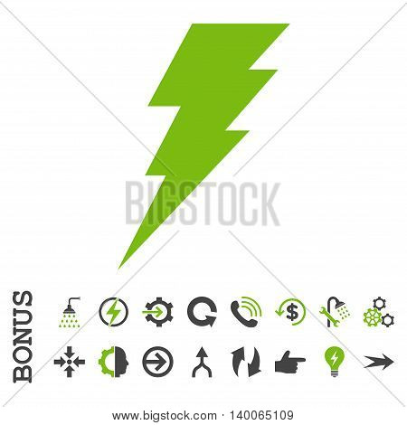 Execute glyph bicolor icon. Image style is a flat iconic symbol, eco green and gray colors, white background.