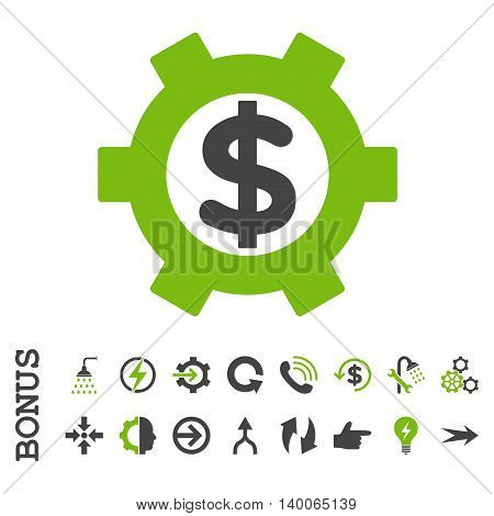 Financial Settings glyph bicolor icon. Image style is a flat pictogram symbol, eco green and gray colors, white background.