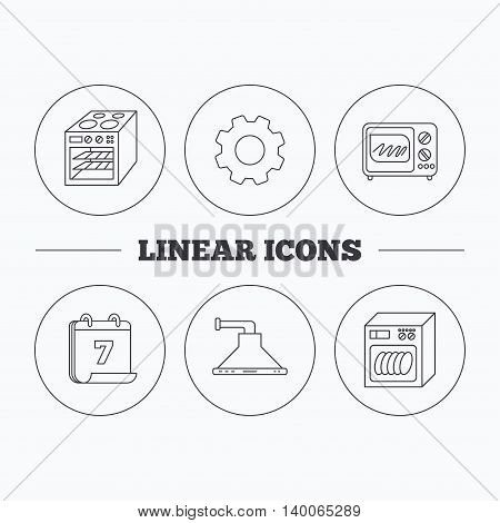 Microwave oven, dishwasher and kitchen hood icons. Oven linear sign. Flat cogwheel and calendar symbols. Linear icons in circle buttons. Vector
