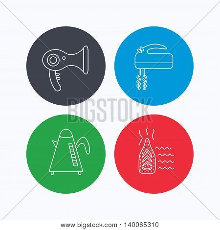 Steam ironing, kettle and blender icons. Hairdryer linear sign. Linear icons on colored buttons. Flat web symbols. Vector
