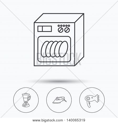 Dishwasher, hairdryer and mixer icons. Iron linear sign. Linear icons in circle buttons. Flat web symbols. Vector