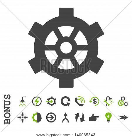 Gear glyph bicolor icon. Image style is a flat iconic symbol, eco green and gray colors, white background.