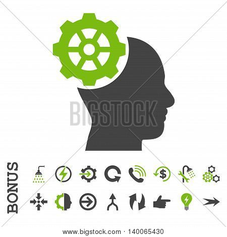 Head Gear glyph bicolor icon. Image style is a flat iconic symbol, eco green and gray colors, white background.