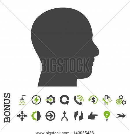 Head Profile glyph bicolor icon. Image style is a flat pictogram symbol, eco green and gray colors, white background.